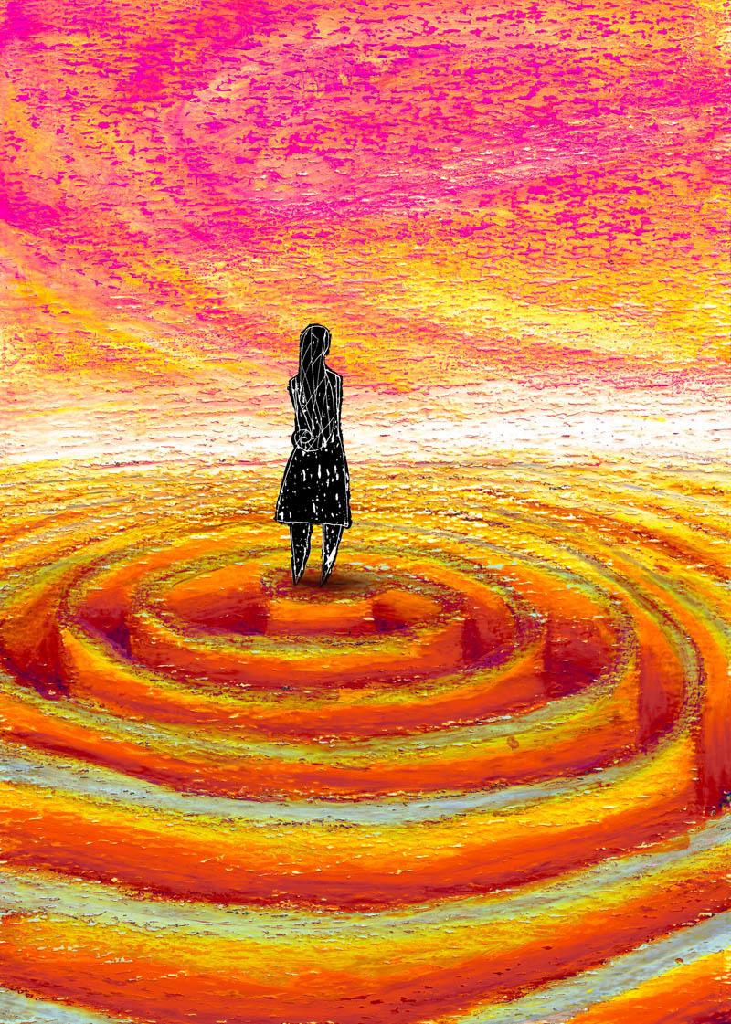 Illustratore Disegnatore Lorenzo Donati Natalori Milano malattia mentale depressione isolamento confusione solitudine ego
