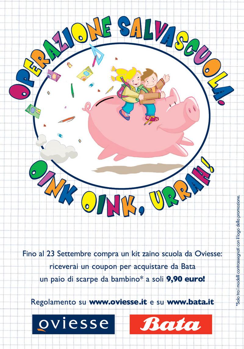 Illustratore Disegnatore Lorenzo Donati Natalori Milano pubblicità bata oviesse scuola bambini maiale felicità