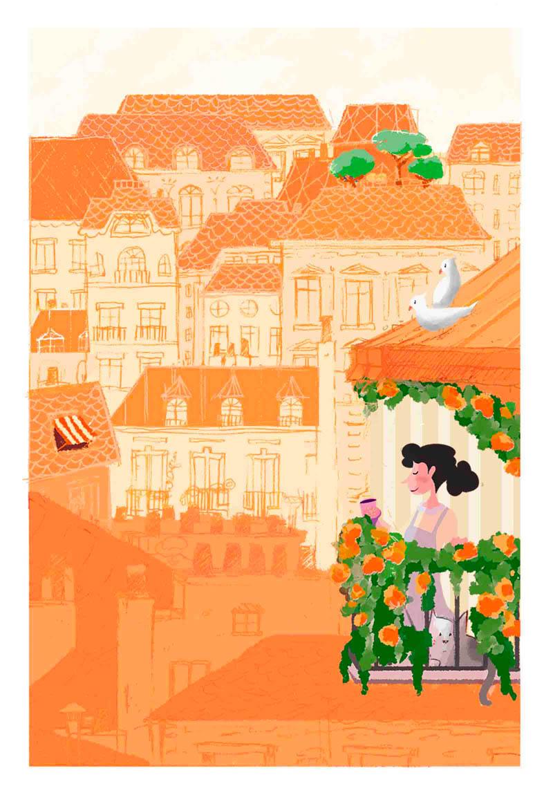 Illustratore Disegnatore Lorenzo Donati Natalori Milano parigi panorama skyline case tetti balconi donna amore poesia