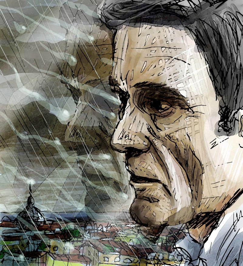 Illustratore Disegnatore Lorenzo Donati Natalori Milano ppp pasolini ritratto pioggia ostia morte treno cupolone roma