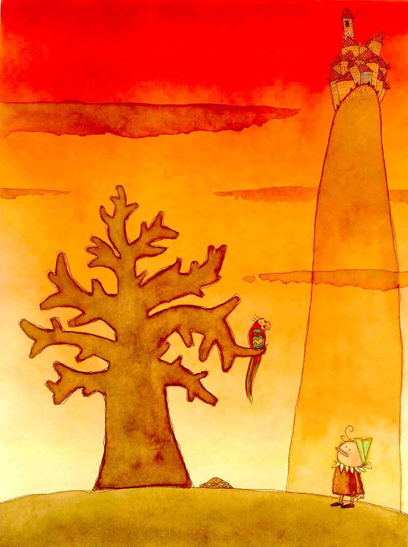 Illustratore Disegnatore Lorenzo Donati Natalori Milano pinocchio collina borgo albero pappagallo soldi sotterrati