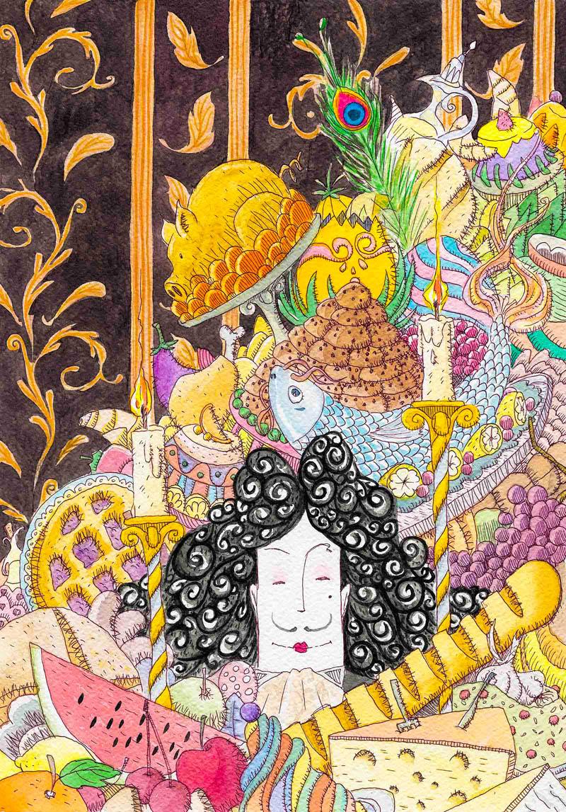 Illustratore Disegnatore Lorenzo Donati Natalori Milano banchetto nunziale cibo food re abbondanza pesce carne frutta verdura faraona maialino