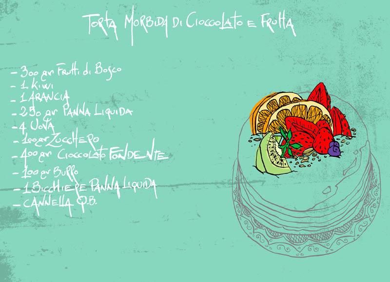 Illustratore Disegnatore Lorenzo Donati Natalori Milano torta frutta cioccolato ingredienti fragole arance kiwi mirtilli