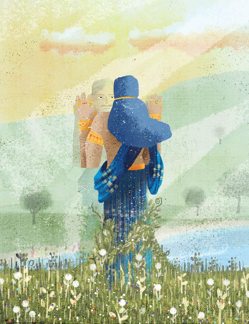 Illustratore Disegnatore Lorenzo Donati Natalori Milano Canton ticino siddharta natura intrappolato fiori erba prato riflesso introspezione