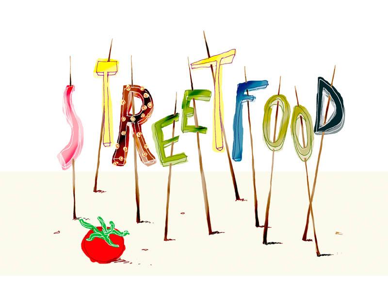 Illustratore Disegnatore Lorenzo Donati Natalori Milano cibo strada pomodorino spiedini streetfood canton ticino
