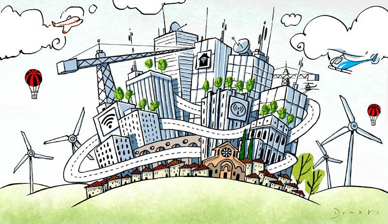 Illustratore Disegnatore Lorenzo Donati Natalori Milano città futuro tecnologia energia pulita telecomunicazioni