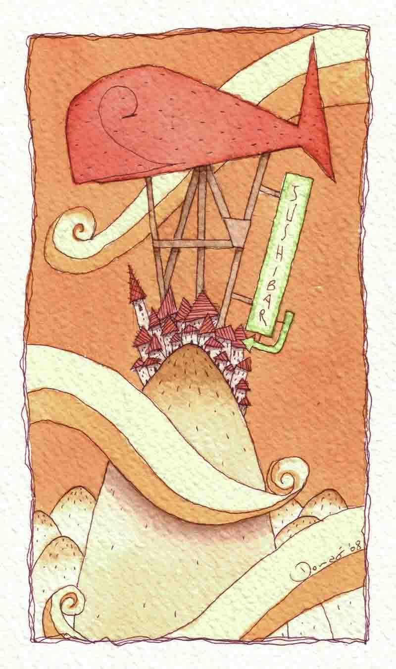 Illustratore Disegnatore Lorenzo Donati Natalori Milano sushi bar collina borgo nuvole insegna gigante pesce nuvole sogno