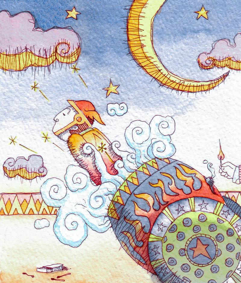 Illustratore Disegnatore Lorenzo Donati Natalori Milano uomo cannone circo stelle luna nuvole