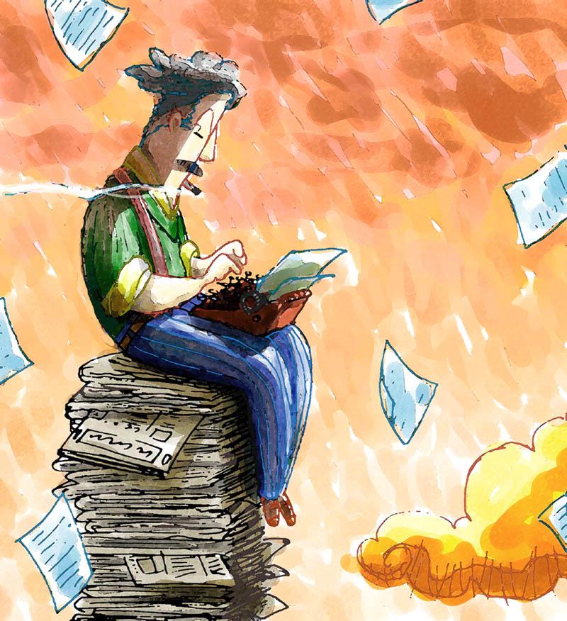 Illustratore Disegnatore Lorenzo Donati Natalori Milano giornalista pila di giornali sigaretta nuvole macchina da scrivere cronista