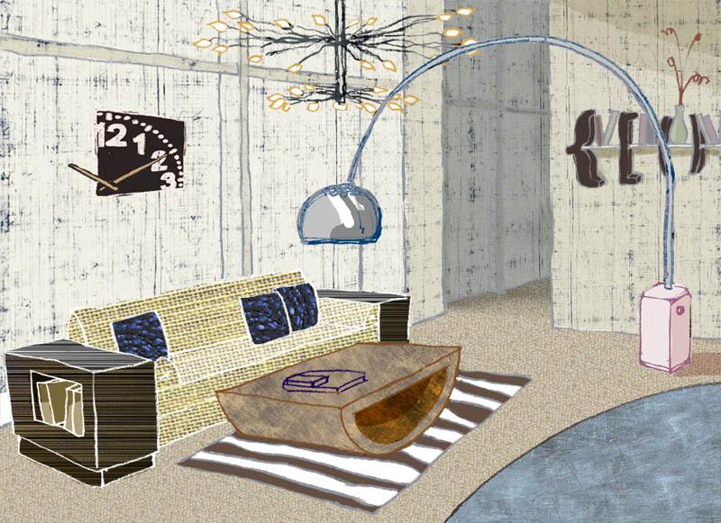 Illustratore Disegnatore Lorenzo Donati Natalori Milano visual vodafone interno salotto pezzi di design