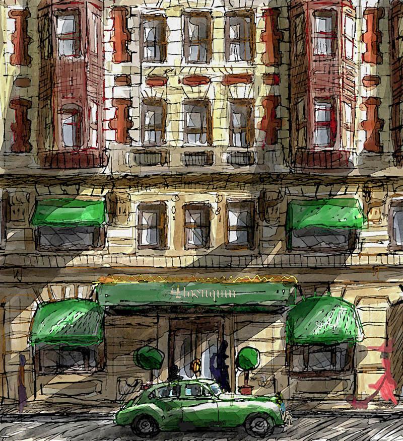 Illustratore Disegnatore Lorenzo Donati Natalori Milano hotel macchina d'epoca ingresso