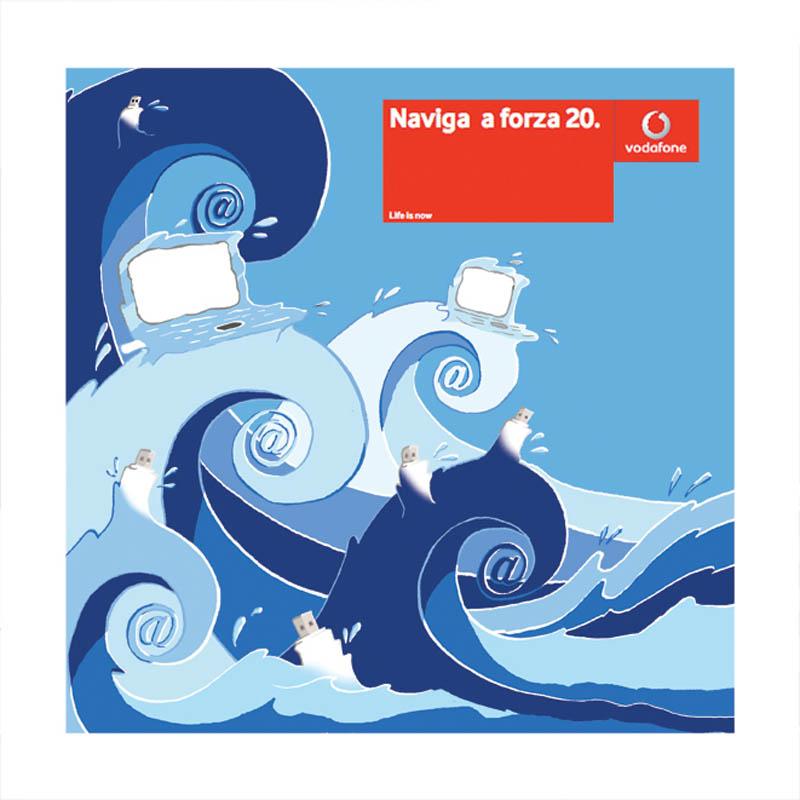 Illustratore Disegnatore Lorenzo Donati Natalori Milano Onde, mare, chiavetta wifi cavalloni